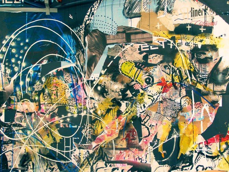 Verschiedene Bildausschnitte und Gouache-Farben in einer Collage
