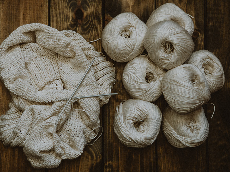 Rundstricknadel: Schal mit Wolle
