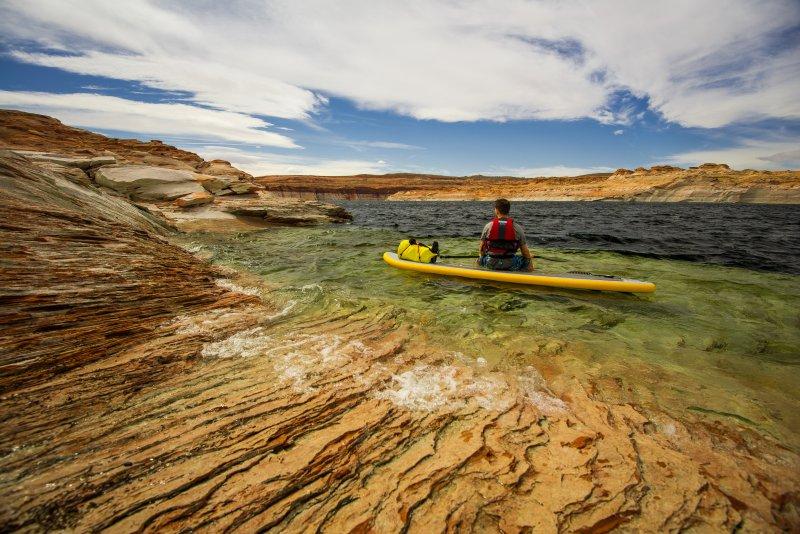 Eine Person sitzt auf einem SUP-Board in einem flachen See.