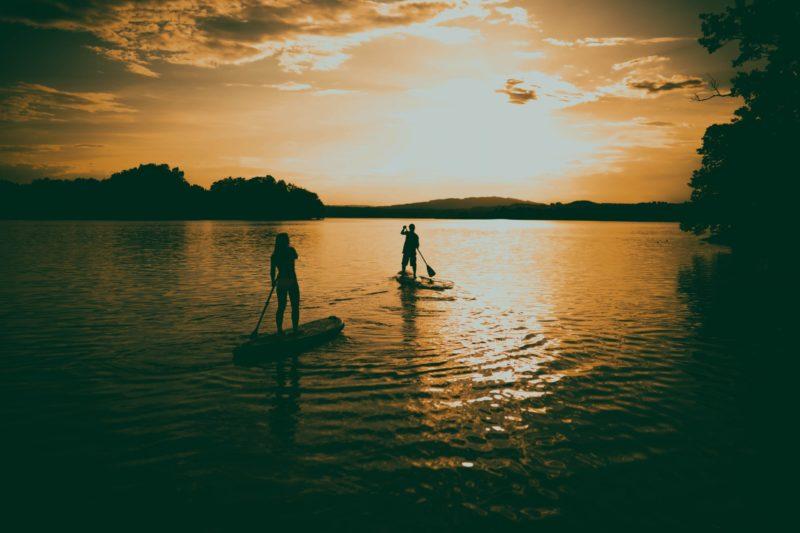 SUP Tour im Sonnenuntergang