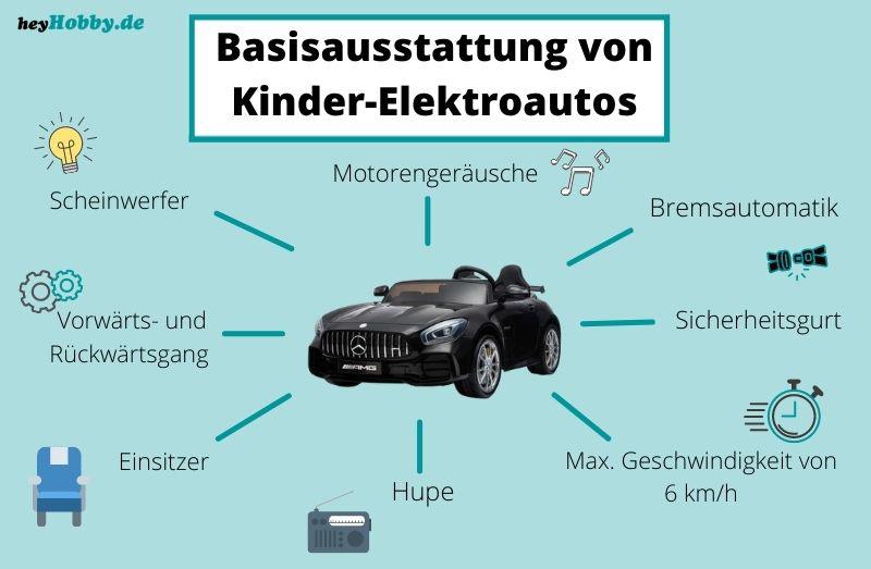 Infografik Basisausstattung von Elektroautos für Kinder