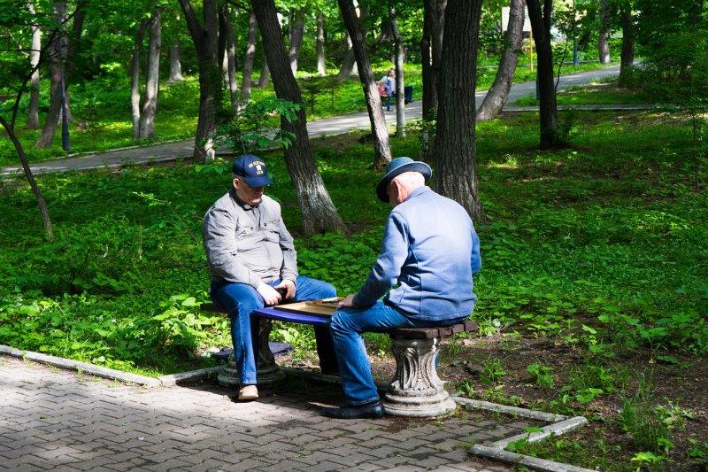 Ältere Herren spielen Schach im Park