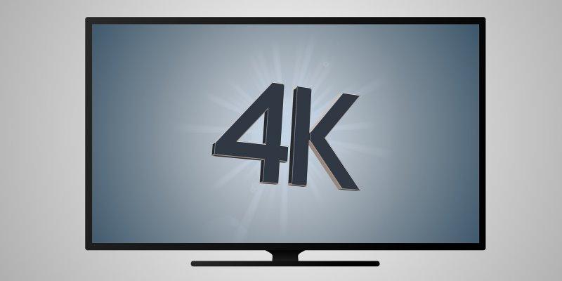 Fernseher mit 4K Aufschrift