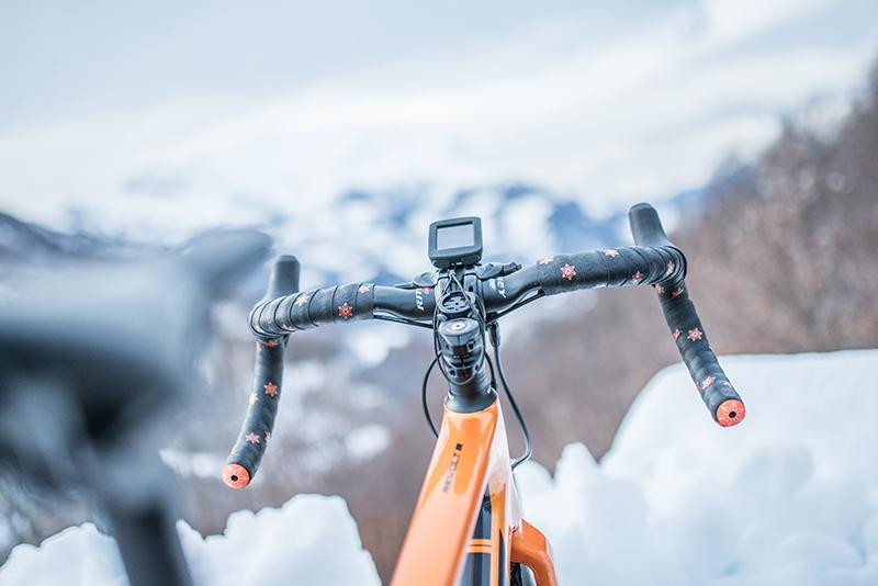 Fahrradtacho am Fahrradlenker vor Bergen