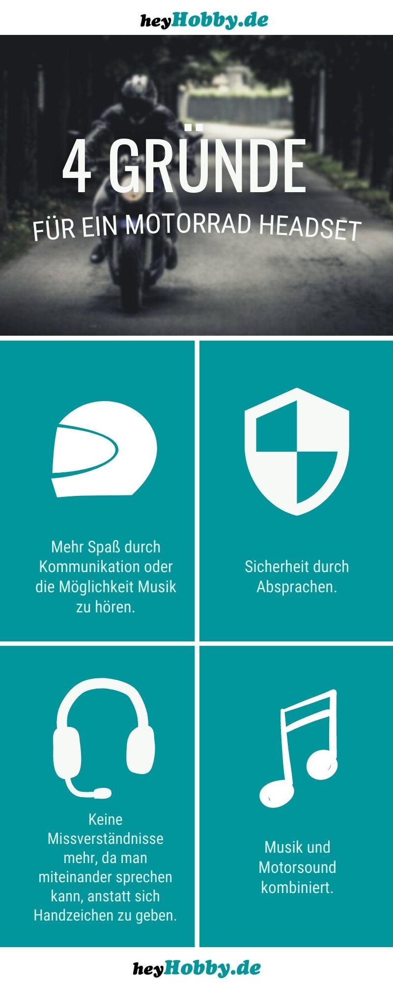 Infografik mit 4 Gründen für ein Motorrad Headset