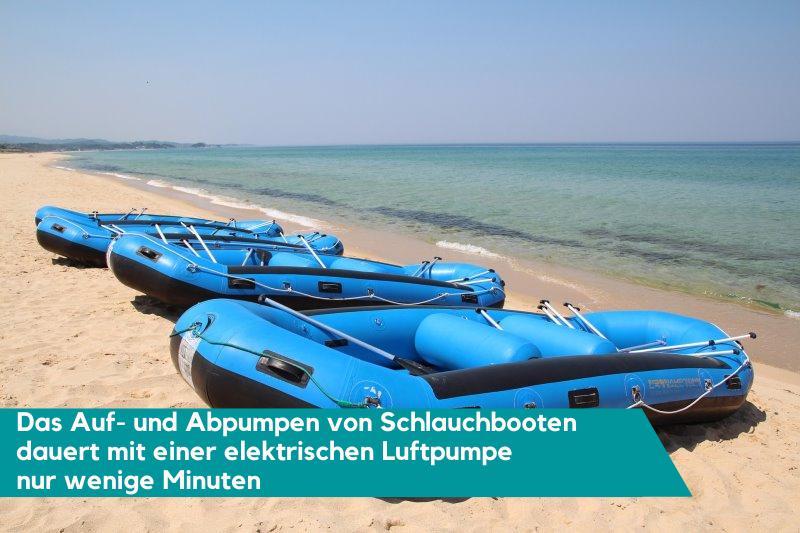 Schlauchboote auf- und abpumpen mit elektrischer Luftpumpe