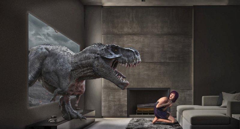 T-Rex tritt aus TV heraus, Surround-Sound Darstellung