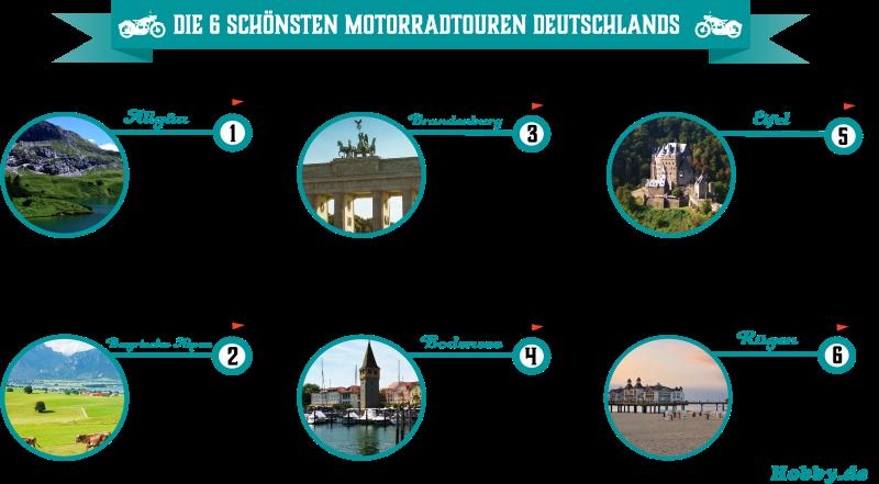 Infografik zu den schönsten Motorradtouren Deutschlands
