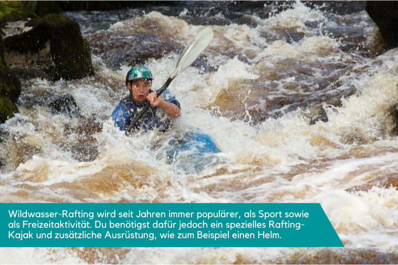 Wildwasser-Rafting mit einem Sportkajak