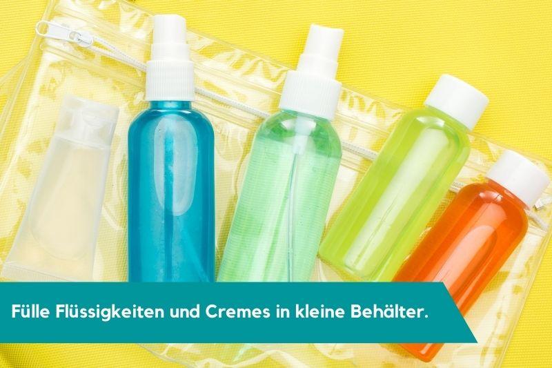 kleine Reisebehälter für Flüssigkeiten und Cremes