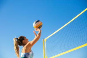 Volleyball Test von einer Frau