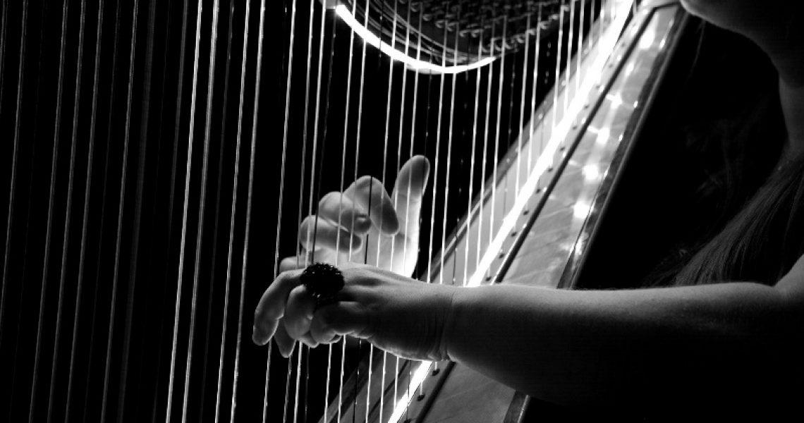Konzertharfe Schwarz-Weiß